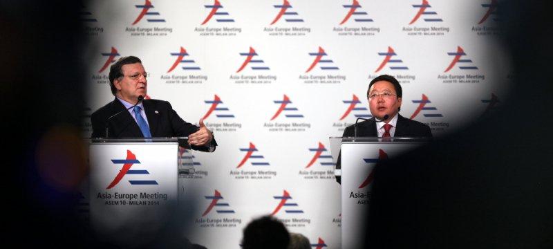 Manuel Barroso und Tsakhiagiin Elbegdorj