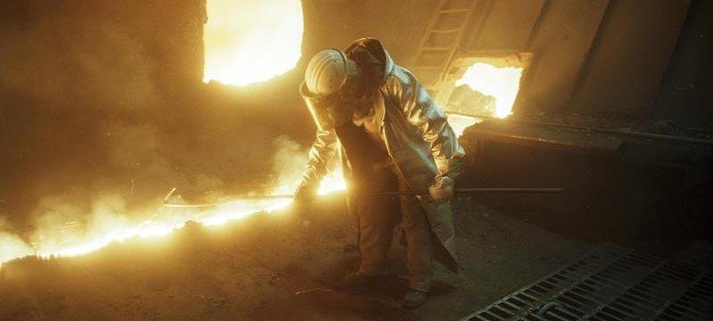 Arbeiter am Hochofen Stahlindustrie